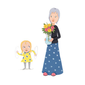 Ellie waving arms with Nana holding flowers